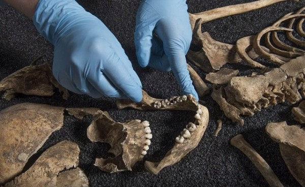 A researcher examining the remains of the skeletons that are believed to be dated between 2nd and 4th Century AD and are of Asia descent.