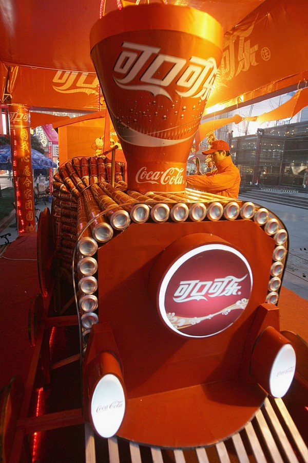 A Coca-Cola piece of art made out of Coca-Cola cans at the streets of China