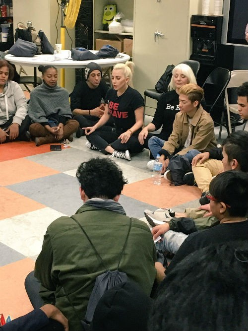 Lady Gaga meets with LGBTQ youths at Ali Forney Center
