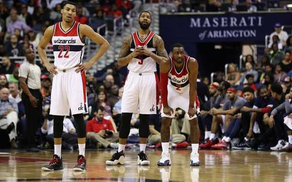 Washington Wizards players (from L to R) Otto Porter Jr, Markieff Morris, and John Wall
