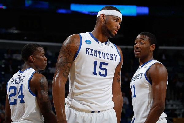 Former Kentucky players (from L to R) Eric Bledsoe, DeMarcus Cousins, and John Wall