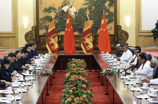 Sri Lanka's President Rajapaksa attends a meeting with China's President Xi at the Great Hall of the People in Beijing