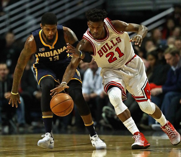 Indiana Pacers' Paul George (L) and Chicago Bulls' Jimmy Butler