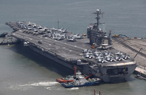 US aircraft carrier USS George Washington sits at anchor in Busan port on July 11, 2014 in Busan, South Korea.