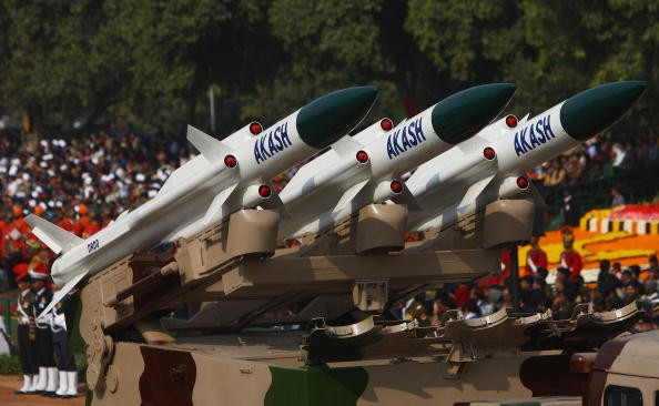 Replica missiles from the Akash Weapon System are displayed during the Republic Day Parade on January 26, 2009 in New Delhi, India.