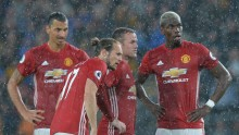 Manchester United players (from L to R) Zlatan Ibrahimovic, Daley Blind, Wayne Rooney, and Paul Pogba