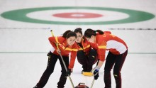 China curlers (from L to R) Wang Rui, Wang Bingyu, and Liu Jinli