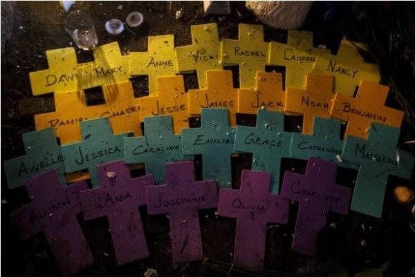 Crosses bearing the names of the Sandy Hook victims at a memorial in Sandy Hook village, Newtown, Conn., Dec. 18, 2012.