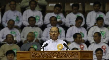 Myanmar President Thein Sein at a launching ceremony for a rural development and social economy improvement program in Yangon, June 2, 2013.