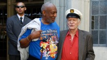 Cosby and Playboy founder Hugh Hefner at the Playboy Mansion in 2011.