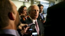 Senate Foreign Relations Committee Chairman Senator Bob Corker (R-TN) (C) talks to reporters before meeting with Secretary of State John Kerry (not pictured) on nuclear negotiations with Iran on Capitol Hill in Washington April 14, 2015.