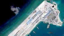 Airstrip construction on the Fiery Cross Reef in the South China Sea