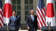President Obama And Japan's Prime Minister Shinzo Abe Hold Joint News Conference
