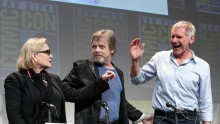 Actors Carrie Fisher, Mark Hamill and Harrison Ford