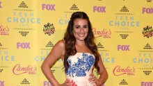 Actress Lea Michele poses in the press room during the Teen Choice Awards 2015 at the USC Galen Center on August 16, 2015 in Los Angeles, California.
