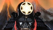 Japanese traditional doll maker Yoshitoku displays a Darth Vader mask during 'Star Wars Celebration Japan' on July 19, 2008 in Chiba, Japan.