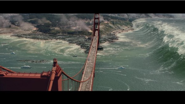 "A ""San Andreas"" scene where Dwayne Johnson with his wife on a boat has to overcome the massive tsunami."