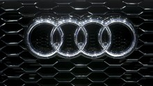 The company logo as seen in an Audi car