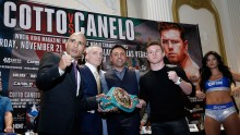 Miguel Cotto, Oscar De La Hoya, and Canelo Alvarez