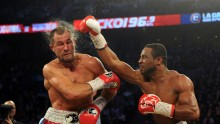 Former lightweight champion Jean Pascal connects with a right hook against Sergey Kovalev