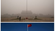 A comparative photo of  Tiananmen Square amid smog in Beijing, China