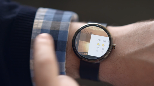 A smartwatch running on the Android Wear operating system.