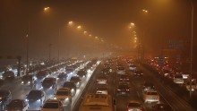 The city of Beijing covered in heavy smog