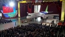 China's first self-developed large passenger jetliner C919 is presented after it rolled off the production line at Shanghai Aircraft Manufacturing Co., Ltd on Nov. 2, 2015 in Shanghai, China.  (Photo: ChinaFotoPress/2Getty Images)