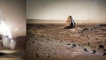 SpaceX Red Dragon landing on Mars (Artist's Concept)