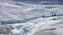 Researchers led by Asa Rennermalm of Rutgers University and including the University of Georgia's Thomas Mote measure meltwater runoff from the ice sheet margin in Greenland during summer 2013.