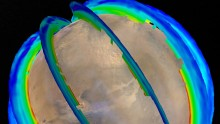 NASA Mars Orbiters Reveal Seasonal Dust Storm Pattern This graphic presents Martian atmospheric temperature data as curtains over an image of Mars taken during a regional dust storm. The temperature profiles extend from the surface to about 50 miles up. T