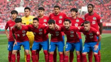 Henan Jianye players lineup before a CSL match