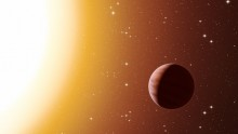 This artist's impression shows a hot Jupiter planet orbiting close to one of the stars in the rich old star cluster Messier 67, in the constellation of Cancer (The Crab).