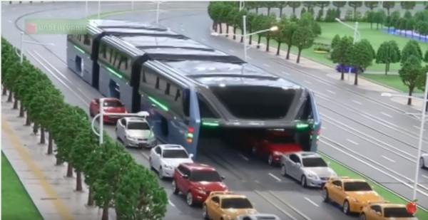China will start production of the elevated bus next week.