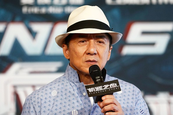 Jackie Chan speaks on stage during a press conference and photocall for Bleeding Steel at Sydney Opera House on July 28, 2016 in Sydney, Australia