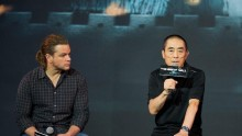 Director Zhang Yimou, right, speaks next to actor Matt Damon during a news conference of their latest movie