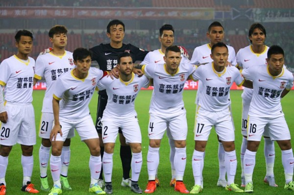 Changchun Yatai players lineup before a CSL game