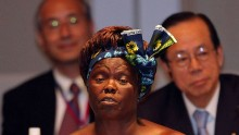 Kenya's Nobel Peace laureate Wangari Maathai attends the Tokyo International Conference on African Development IV