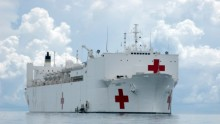 U.S naval hospital ship off the coast of Zamboanga, Philippines.