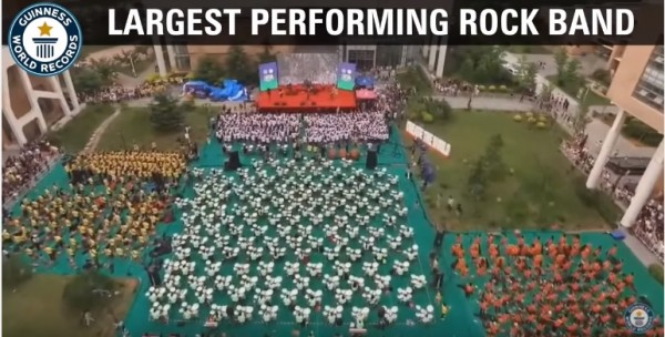 "China's Beijing Contemporary Music Academy broke the world record for being the ""Largest Performing Rock Band"" after 953 musicians played a show altogether in Tianjin."