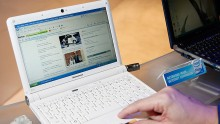 A Lenovo ideapad netbook with an Intel Atom processor is displayed at the Intel Corp.