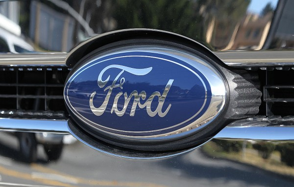 The Ford logo is seen on a brand new Ford truck at Serramonte Ford on April 27, 2012 in Colma, California.