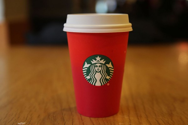 A new holiday Starbucks cup is viewed on November 12, 2015 in New York City.