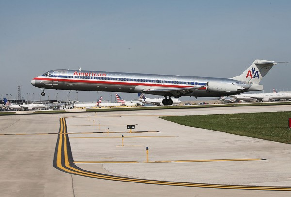 An American Airlines jet lands at O'Hare International Airport on September 19, 2014 in Chicago, Illinois.